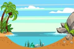 Seascape κινούμενων σχεδίων καλοκαίρι διανυσματική απεικόνιση