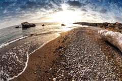 Seascape κοντά στο tou Romiou της Petra, επίσης γνωστό ως βράχος Aphrodite Στοκ Εικόνες