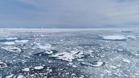 Seascape πάγου της Ανταρκτικής πολική ωκεάνια εναέρια άποψη απόθεμα βίντεο