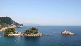 Seascape Πάργα Panagias νησιών απόθεμα βίντεο