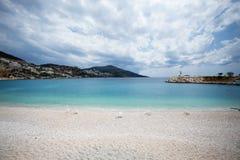 Seascape της παραθεριστικής πόλης Kalkan της Τουρκίας Στοκ Εικόνες