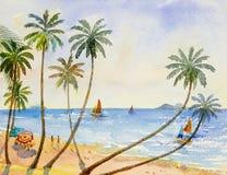 Seascape акварели картины семейного отдыха иллюстрация штока