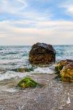 Seascape во время захода солнца в Odesa Украины стоковое фото rf