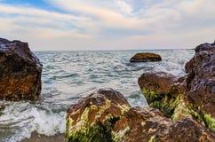 Seascape во время захода солнца в Odesa Украины стоковая фотография rf