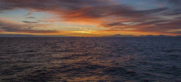 Seascape - заход солнца Стоковая Фотография RF