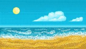Seascape искусства пиксела иллюстрация вектора