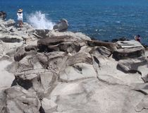 Seascape и брызг Стоковая Фотография