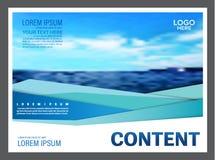Seascape и предпосылка шаблона дизайна плана представления голубого неба для туризма путешествуют дело иллюстрация Стоковые Фотографии RF