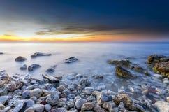 Seascape морского пехотинца захода солнца Стоковые Изображения RF