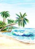 Seascape Пляж лета тропический с золотыми песком, волнами и palmes Нарисованная рукой вертикальная иллюстрация акварели иллюстрация штока