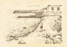 Seascape при отпускники загорая на пляже Стоковое Изображение