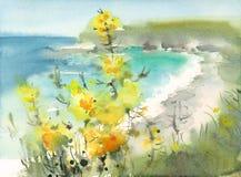Seascape при покрашенная рука иллюстрации природы акварели цветков Стоковое Изображение RF