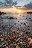 Seascape рассвета на Les Rotes, Denia Стоковое Изображение