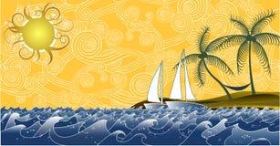 seascape солнечный Стоковые Изображения RF