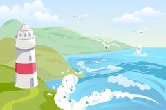 Seascape с маяком Стоковая Фотография