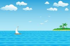 Seascape с островом иллюстрация штока