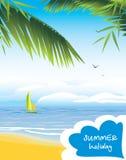 Seascape с парусником. Летний отпуск бесплатная иллюстрация