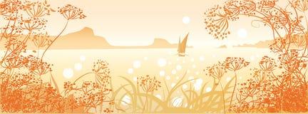 Seascape с парусником Стоковая Фотография