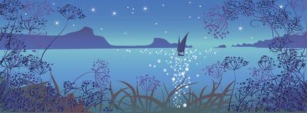 Seascape с парусником Стоковые Изображения RF