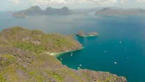 Seascape с тропическими островами El Nido, Palawan, Филиппинами сток-видео