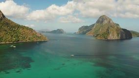 Seascape с тропическими островами El Nido, Palawan, Филиппинами видеоматериал