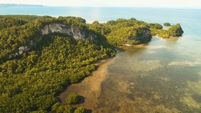 Seascape с тропическими островом, пляжем, утесами и волнами Bohol, Филиппины видеоматериал