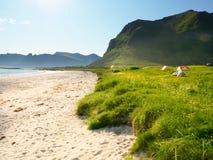 Seascape с шатром на пляже, Lofoten Норвегии стоковые фотографии rf