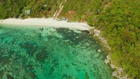 Seascape с beah на острове Boracay, Филиппин видеоматериал