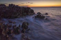 Seascape Хорватии на заходе солнца Стоковые Изображения
