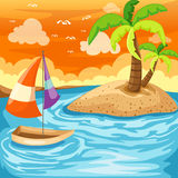 Seascape. Illustration of cartoon summer seascape Royalty Free Stock Photography