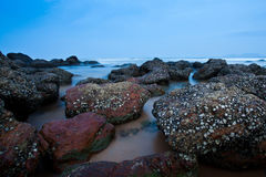 Seascape. Rocks at the beach in Malaysia with slow waves Royalty Free Stock Photography