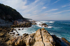 Seascape. A scenic photo of a rocky beach taken on the otter hiking trail, south africa Royalty Free Stock Photo