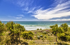 Seascape. Beach in Salou. Costa Dorada. Spain Royalty Free Stock Photo