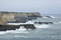 Seascape. Showing waves battering cliffs Stock Photography