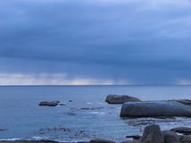 Seascape. With rain on the horizon Royalty Free Stock Images
