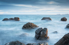 Seascape. Composition of nature with long exposure shot Royalty Free Stock Image