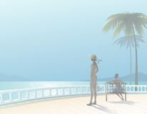 Seascape. Lovely tranquil seascape with two figures vacationers girls. EPS10 Stock Image