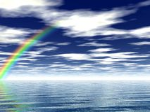 Seascape. Beautiful rainbow over the sea Royalty Free Stock Image