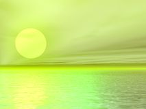 Seascape. Sunset over sea.3d image Stock Photos
