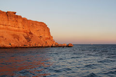 Seascape на заходе солнца на Красном Море Стоковые Изображения