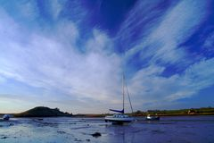 Seascape. Alnmouth esturary stock photo