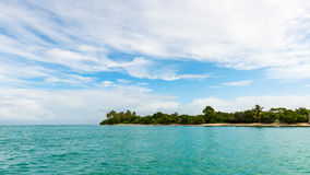 Αριθ. - ανθρώπινο - seascape άποψης του Τομπάγκο εδάφους πανοραμικός τροπικός κόλπος Καραϊβικές Θάλασσες παραλιών Στοκ φωτογραφία με δικαίωμα ελεύθερης χρήσης