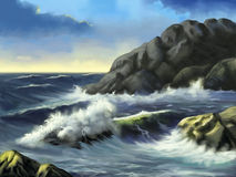 seascape vektor illustrationer