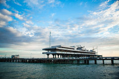 Seascape - an abandoned dock in Abkhazia Royalty Free Stock Image