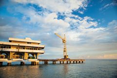 Seascape - an abandoned dock in Abkhazia Royalty Free Stock Photography