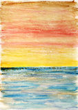 Seascape. Abstract watercolor background. Royalty Free Stock Photos