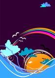 Seascape abstrato com onda e mar Imagem de Stock Royalty Free