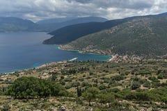 Seascape Agia Effimia miasteczko, Kefalonia, Grecja Obraz Stock