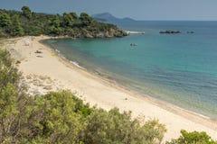 Seascape with Agios Georgios Beach at Sithonia peninsula, Chalkidiki, Central Macedonia, Greece. Amazing seascape with Agios Georgios Beach at Sithonia peninsula stock images