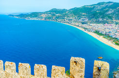 The seascape with Alanya fortress wall Royalty Free Stock Photos